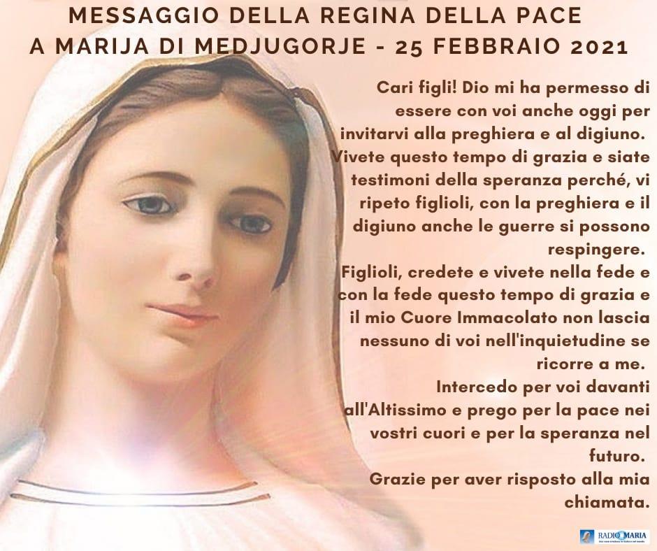 Mesaggio a Marija di Medjugorje 25 Febbraio