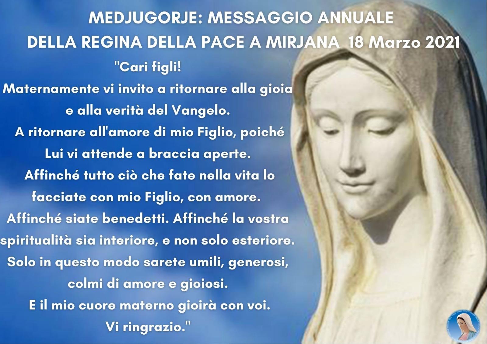 Mesaggio a Mirjana di Medjugorje 18 Marzo
