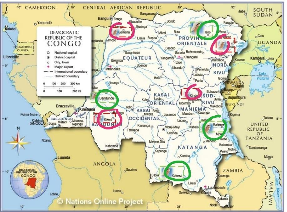 Mappa Repubblica Democratica del Congo